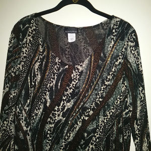 Brittany Black 3/4 Sleeve Blouse Multi-color Sz 2X